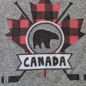 Canada Sleeper Hockey Plaid Bear Size: 6 - 12 M